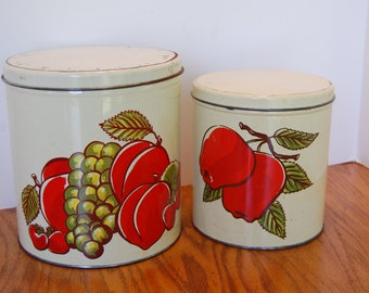 Vintage Kitchen Canister, Decoware Tin Canister, Metal Canister, Flour Canister, Sugar Canister