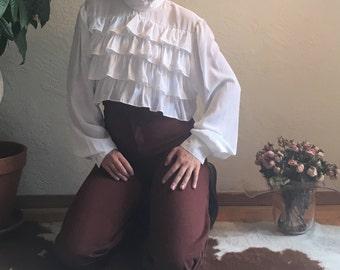 White Ruffled Shakespeare Blouse