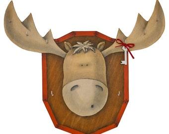 Wall Key Holder Funny Moose