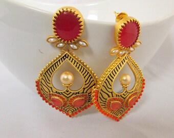 Orange and Gold Pearl Chandelier Earrings
