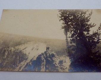 1910s RPPC Real Photo Postcard South Dakota Black Hills? Men on Mountain 21694