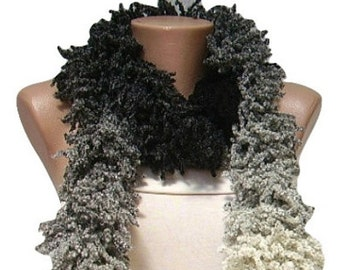 ON SALE Black, Grey Scarf, Colorful Crochet Neckwarmer, Long, Woman Accessory, For Her, Gift Idea