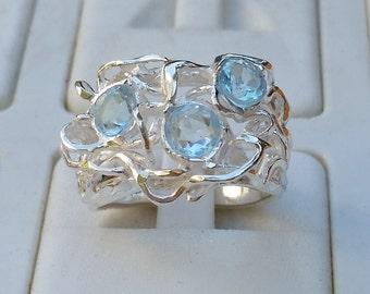 Blue Topaz Silver Ring ,Handmade Gemstones ring ,Statement Topaz Ring ,Birthstone Silver Ring ,Multistone Friendship ring ,Easter Gift