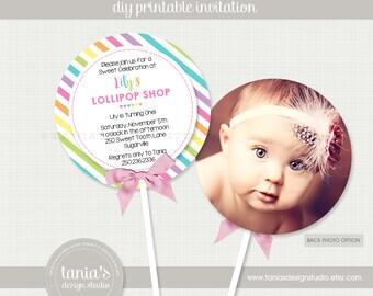 Candy Sweets Lollipop Printable Birthday Invitation by tania's design studio