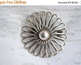 10% OFF SALE Flower brooch all real sterling silver pin great for any event