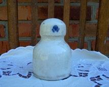 Vintage Ceramic Insulator. Pre-Revolutionary Insulator with Russian empire coat of arms. White ceramic electric insulator