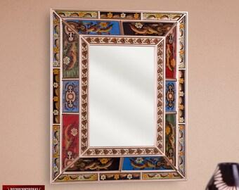 Rectangular Large Decorative mirror, 'Flower Majesty' - christmas Nativity Wall Mirrors- Home Wall Decor - Peruvian Hand Painted glass Style