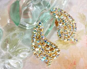 Vintage AB Rhinestone Earrings