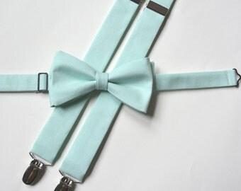 Mens/ suspenders and bow tie,mint suspenders and bow tie for men,mint wedding suspenders,mens fashion accessories