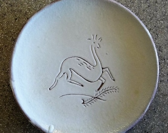 RED Earthenware Pottery Incised Plate Signed Maggie '46 PRIMITIVE Folk Art