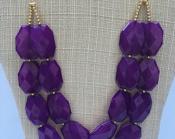 LSU Game Day Necklace - LSU necklace - Lakers Necklace - Vikings Necklace -Purple Necklace - GameDay Necklace - Purple Chunky Necklace