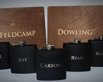 5 Cigar Boxes & 5 Flasks Groomsman Gift Set - Laser Engraved Cigar Box and Flask Gift Set - Wooden Cigar Box