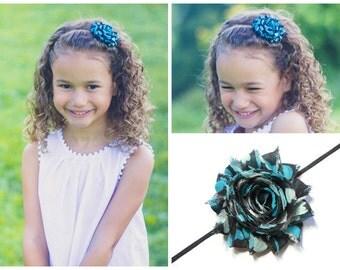 Blue Hearts Headband - Girls Blue Flower Headband - Black Skinny Flower Headband