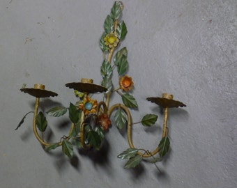 Vintage Italian toleware triple candle sconce