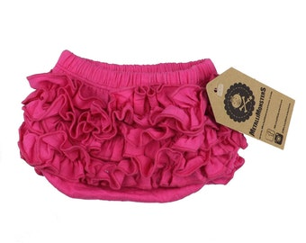 Pink ruffle baby bloomers