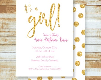 Baby Shower Invitation / Glitter & Pink / Girl