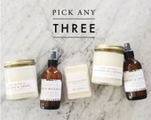 PICK ANY THREE: Candle, Wax Melt, and Air & Linen Mist | Hand Poured, Wood Wick | Soy Wax Melt | Wax Tart | Wax Cube | Room Spray| Gift