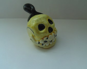 Handmade Miniature Polymer Clay Skull Sculpture with an Optional Ornament Attachment, Halloween, White, Yellow, Black