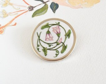 Hand embroidered Field Bindweed brooch
