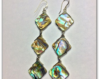 Abalone Three Triangle .925 Sterling Silver Earrings