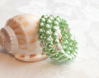 Mint Green Bracelet & Earrings Green Bracelet Pearl Jewelry Bracelet Mint Jewelry Wedding