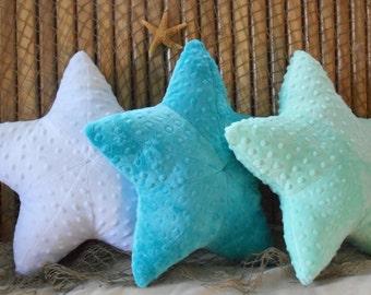 Starfish pillow, nautical pillow, minky dot starfish pillow, nautical baby pillow, sealife pillow, seashell pillow, throw pillow
