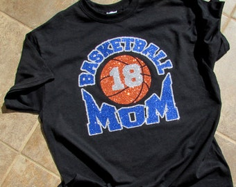 "Basketball Mom Shirt with ""BASKETBALL MOM"" in Sparkling Glitter with Your Players Number and Your Choice of Colors Short Sleeve"