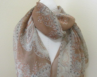 Silk  Pasiley brown Scarf, perfect gift