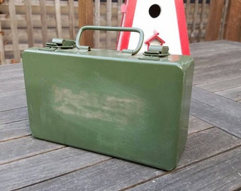 Pacific Telephone & Telegraph Co. Vintage First Aid Ki,t Army Green, Set Dec Prop, Industrial Chic, Storage, Man Cave, Retail Display