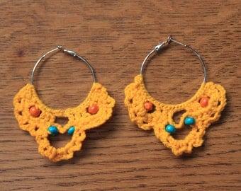 Crocheted earrings yellow
