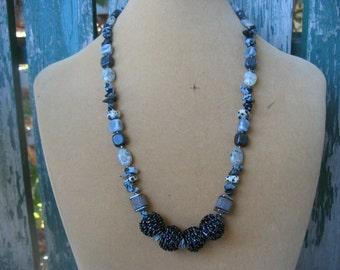 Black and Grey Stone Necklace