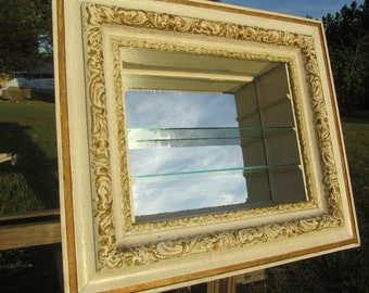 Shabby chic furniture,wood shelf, display shelf,mirror,shadow box,shabby chic decor,hand painted furniture,cream,beach decor,