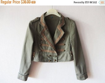 SALE Khaki Marching Band Jacket Cropped Moss Green Cotton Womens Double Breasted Military Style Blazer MJ Michael Jackson Small to Medium Si