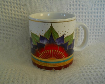 LAUREL BURCH ~ 1980's Coffee Mug~ Celestial Lotus Flower ~ Good Condition
