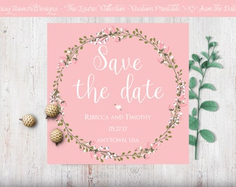 Custom Printable Square Save the Date Card - The Laurie Collection