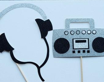 80's Birthday Party Photo Booth Props ; Boombox and Walkman ; 30th Birthday Party Decor