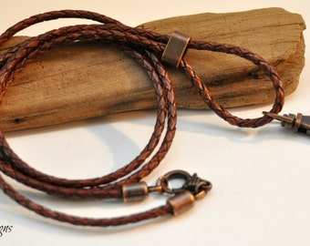 Rustic Leather Lanyard, Rustic Leather ID Holder, Rustic, ID Key Lanyard,Gift for Him,For Her, Mens Gift,Leather Badge Holder,Men,Key Holder