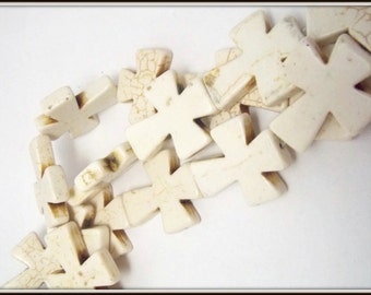 1 Strand Large Howlite Cream Cross Beads, bulk beads, Stone cross pendant, Religious faith jewelry, Bible School, 35x30x7mm, USA Seller