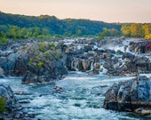 View of rapids in the Potomac River at sunset, at Great Falls Park, Virginia. | Photo Print, Stretched Canvas, or Metal Print.