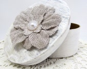 Small Oval Keepsake Box - Small Keepsake Box - Shabby Chic Box - Oval Gift Box - Gift for Her - Gift Box - Burlap Flower - Distress Painted