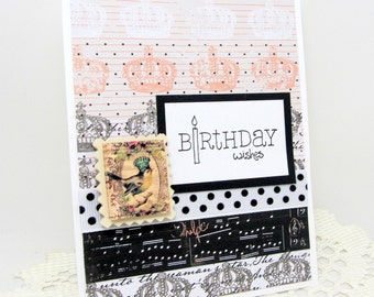 Birthday Card - Happy Birthday - Birthday Wishes - French Vintage Style - Black and White - Blank Birthday Card - Pink Accents - Whimsical