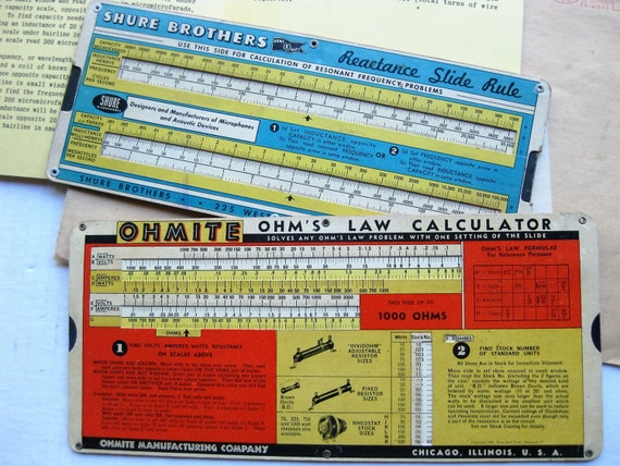 1940s OHMITE OHM's Law Calculator and Shure Brothers Reactance slide rules, brochure. Radio. Television. Broadcast history. Vintage tech.