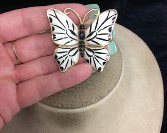 Vintage Black & White Enameled Black Stone Butterfly Pin