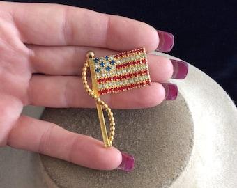 Vintage Red Clear Blue Rhinestone American Flag Pin