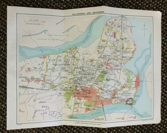 1909 Allahabad [8.4 x 6.3 in.] Prayag, Ilahabad, Ganges River, Yamuna River, Colorful city map, Rare city map