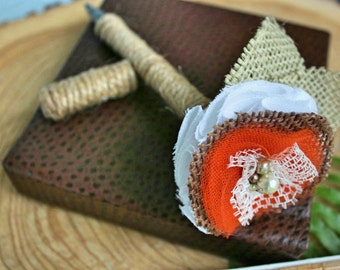 Wedding Guest book Pen - Orange and Brown With Twine and Covered Cap-Vintage-Rustic-Flower Pen-Handmade