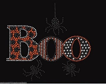 Boo with Spider Rhinestone Iron on Transfer 4K4I