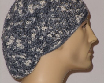 Crochet hat in different shades of grey