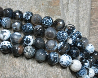 """10 mm Fired Agate Beads Faceted, 15"""" Strand - Item B0612"""