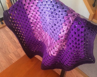 I Love Purple Baby Blanket - Granny Square Throw in Shades of Purple